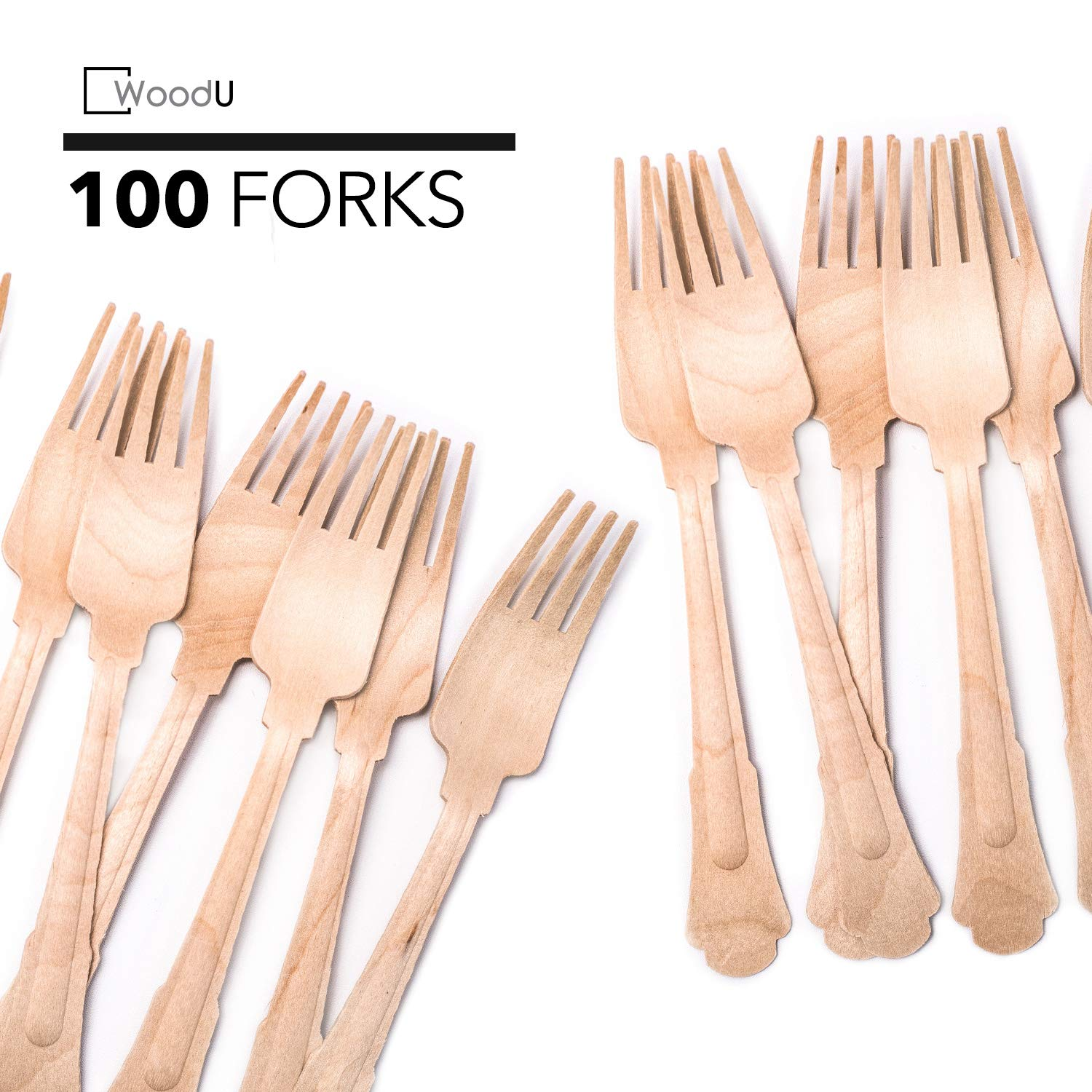 WoodU Elegant Wooden Forks - Disposable Utensils, Biodegradable, Eco-Friendly - for Special Events, Fancy Parties, Wedding Receptions (100 Pack) 7.75'' Length by WoodU by WoodU