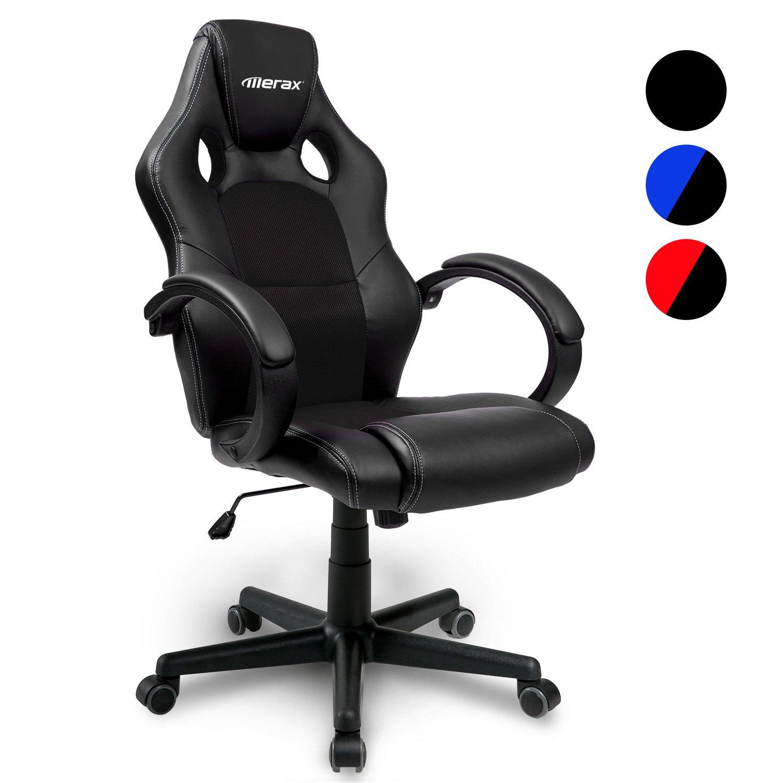 Merax Racing Stuhl Sportsitz Gaming Schreibtischstuhl Bürostuhl Chefsessel Ergonomischer PU Leder Computer Stuhl mit Hoher Rückenlehne - Farbauswahl (Schwarz)