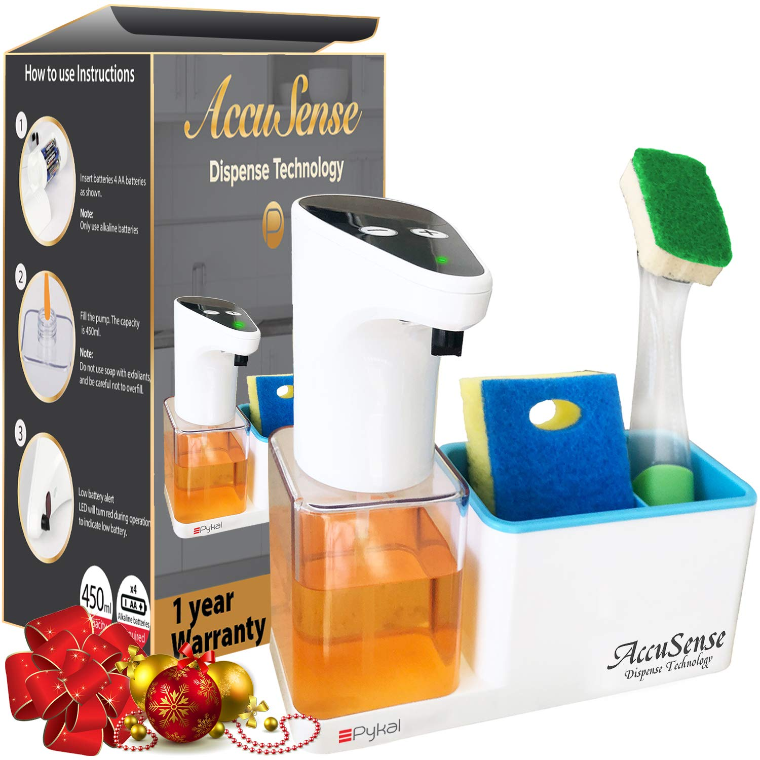 Premium 15 oz Kitchen Soap Dispenser with Sponge Holder | Automatic and Touchless Accusense Dispense Technology | 1 Year Warranty | Perfect Packaging for Christmas by Pykal KIT-SD-002