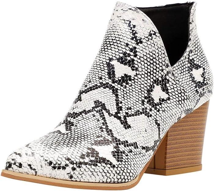 Botines Piel Mujer Otoño, Botines Patrón de Serpiente Botas Bajos Patrón de Leopardo Zapatos Tacon Ancho Puntiagudos Botines Abiertos Fiesta Clásico Comodos Antideslizante
