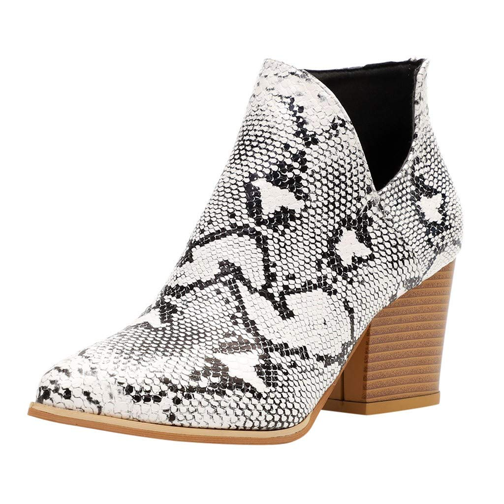 Women's Casual Ankle Booties Cut Out Slip On Low Heel Side Zip Leopard Print Short Boots (US:6.5-7.0, Beige)
