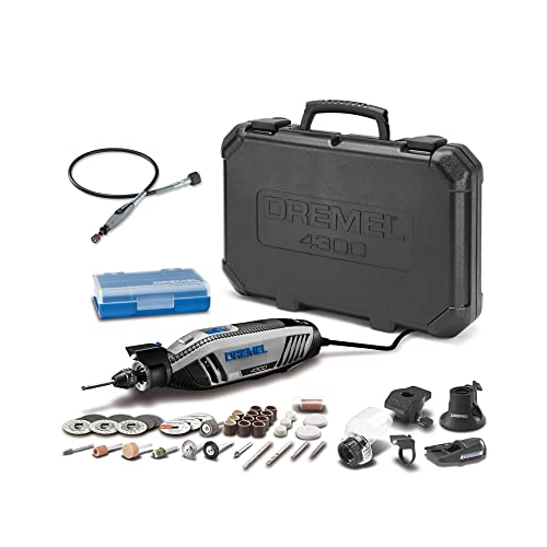 Dremel 4300-5 40 High Performance Rotary Tool Kit with LED Light- 5 Attachments 40 Accessories Plus Dremel 225-01 Flex-Shaft 2 Items