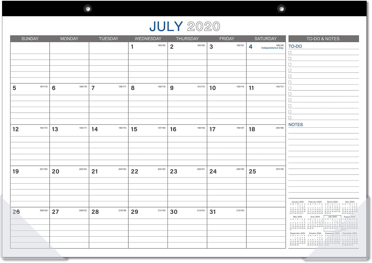 "2020-2021 Desk Calendar - 18 Months Desk Calendar with to-Do List, 17"" x 12"", Monthly Desk or Wall Calendar, January 2020 - June 2021, Large Ruled Blocks Perfect for Organizing for Home or Office"