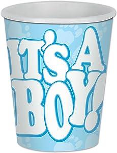 Beistle 58218 It's A Boy Beverage Paper Cups, 9 Ounces, 8 Ct, 9-Ounce, Light Blue/White