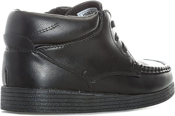 Padded Collar Junior Boys Henleys Clover Mid Boot In Black Lace Fastening