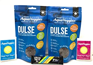 Aqua Veggies Organic Dulse Flake/ Whole Leaf/ Superfood from The Sea, Superfood Power Packs (Month Supply) Salads/Smoothies (Dulse Flake, Duo Pack)