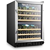 Lanbo 44 Bottle Built-in Dual Zone Compressor Wine Cooler, 24 Inch Wide