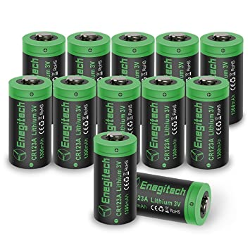 CR123 A baterías de litio, enegitech 12 unidades 3 V 1300 mAh recargables con PTC