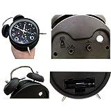 Mofek Twin Bell Alarm Clock with Night Light, Quiet Non-ticking Loud Alarm Clock, Retro Metal Style Battery Operated Quartz Movement Clock - Black