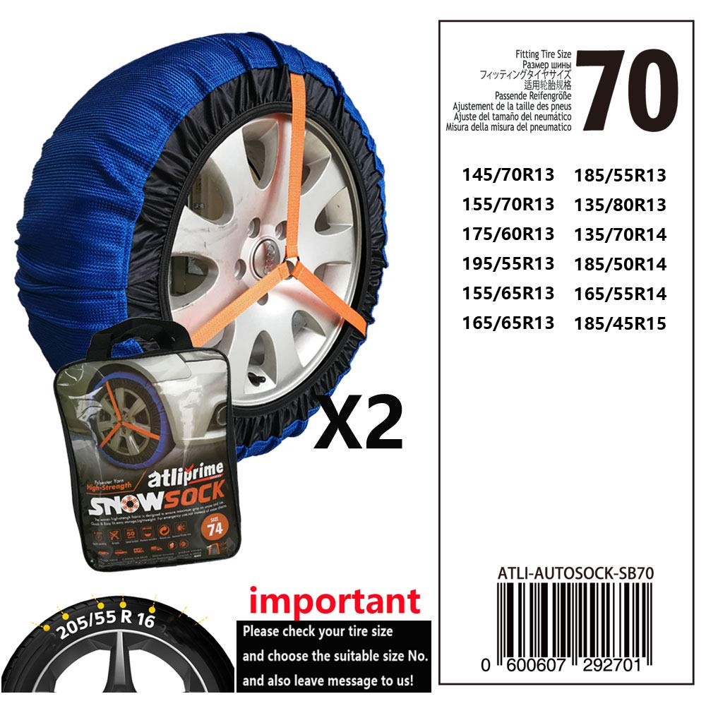 atliprime 2pcs Anti-Skid Safety Ice Mud Tires Snow Chains Auto Snow Chains Fabric Tire Chains Auto Snow Sock on Ice and Snowy Road (AT-SB70) by atliprime