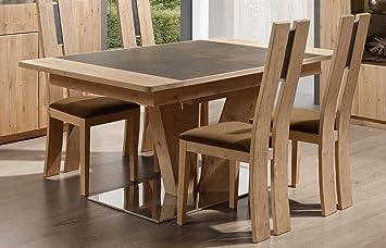 Table Pied Central Carré Ou Rectangulaire En Chêne Et Céramique