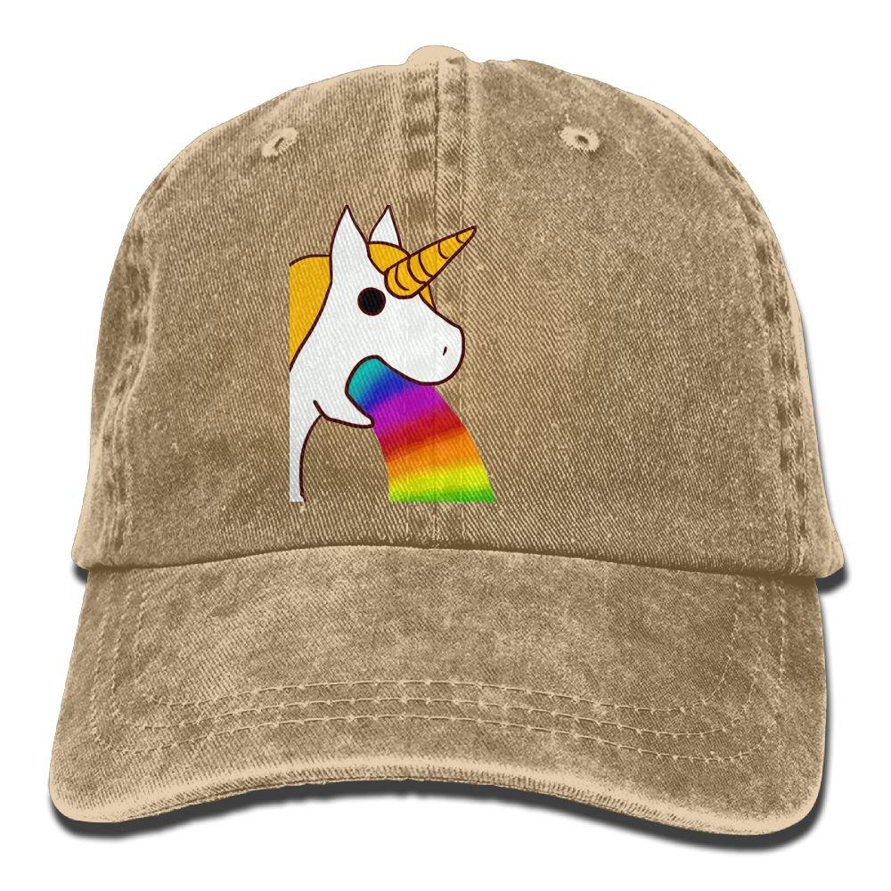 Rainbow Unicorn Plain Adjustable Cowboy Cap Denim Hat for Women and Men