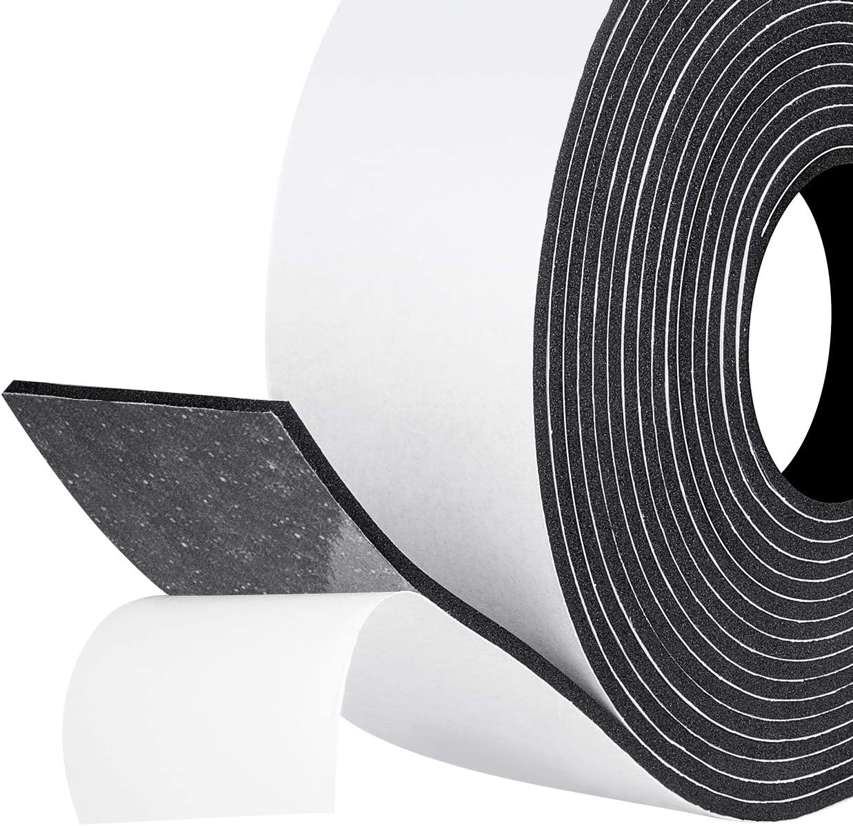fowong Weather Stripping Foam Tape, 2 Inch Wide X 1/8 Inch Thick X 16 Feet Long Rubber Strips with Adhesive Foam Insulation Tape Window Seal Shock-Absorbing Rattle Gasket Tape 1 Roll