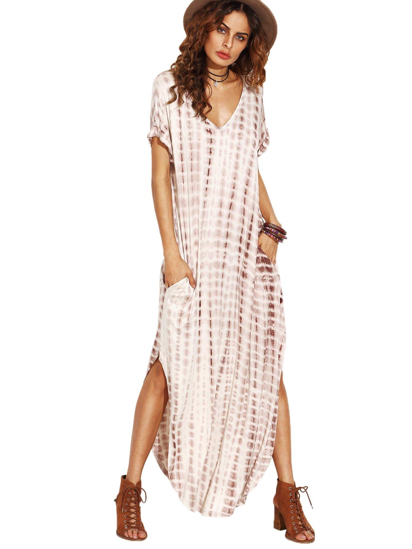 MakeMeChic Casual Maxi Short Sleeve Split Tie Dye Long Dress Coffee M