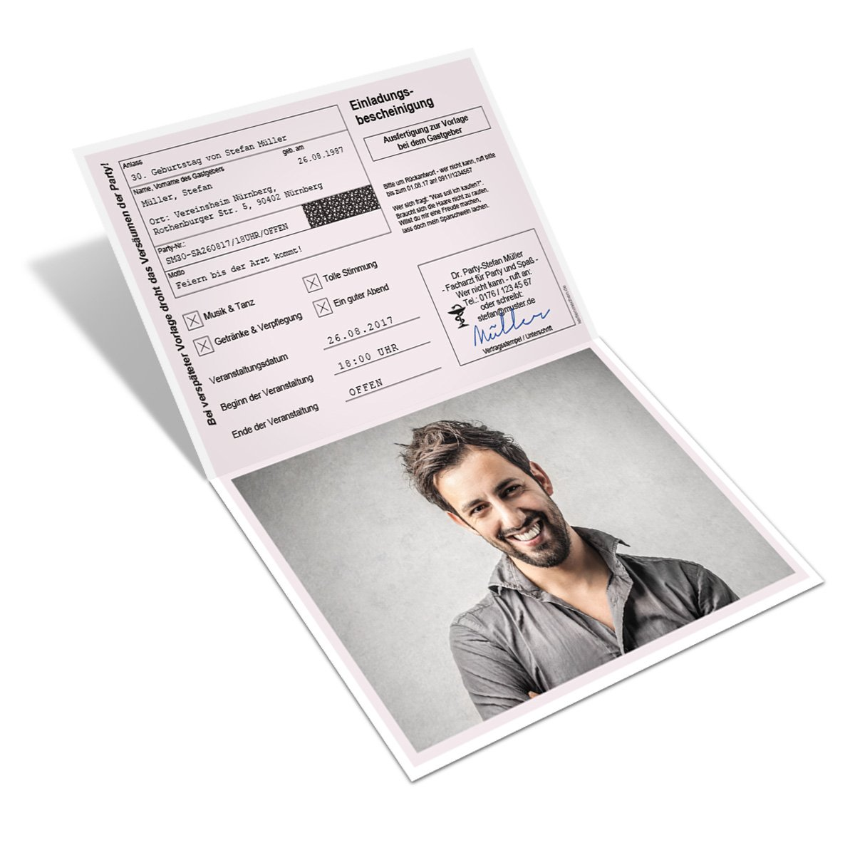 Geburtstag Einladungskarten (60 Stück) Krankschreibung Krankmeldung Klappkarte mit Foto B01N6X9YJ6 | Qualität zuerst  | Elegante Form  | Beliebte Empfehlung