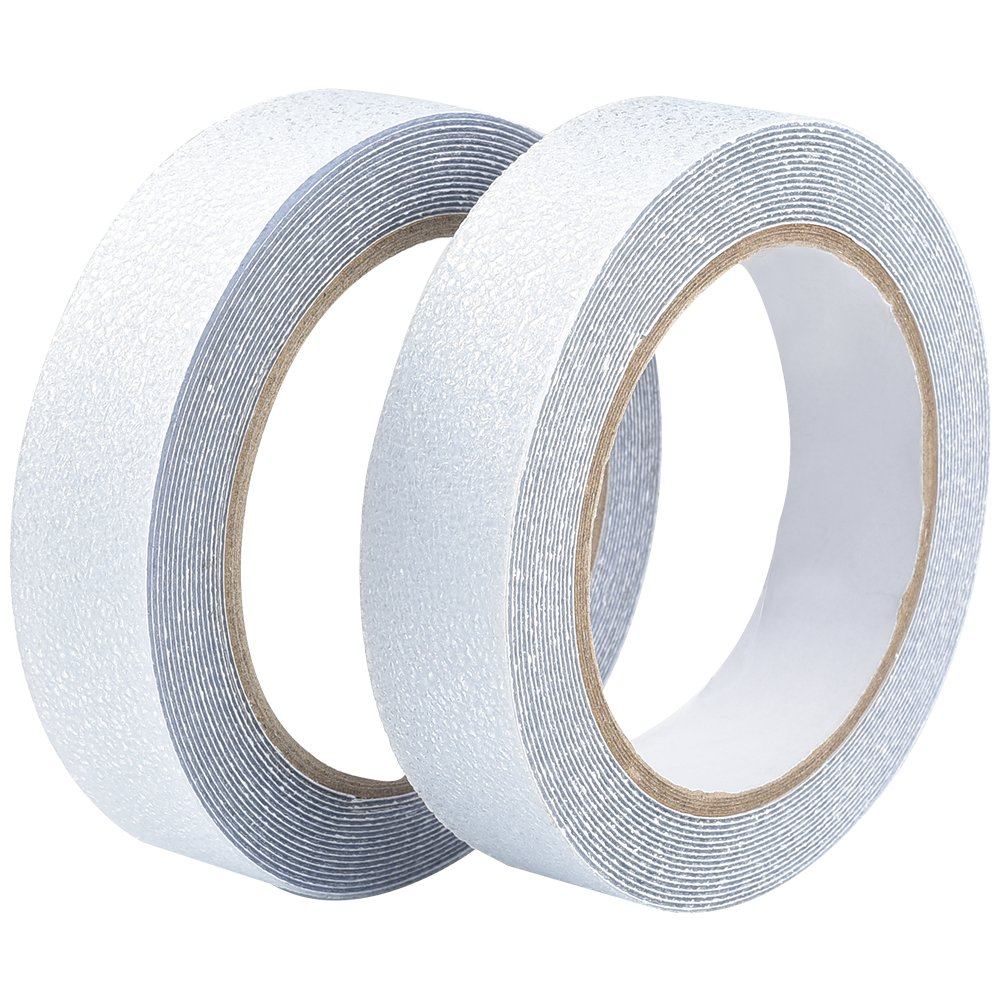 2 Roll Adhesive Anti Slip Tape, Irich Clear High Traction Strong Grip Skid Tape - Not Easy Leaving Adhesive Residue for Stairs, Kitchens, Toilets, Swimming Pools, Bathtubs (2.5CM Width x 5M Long) 4YSFHD