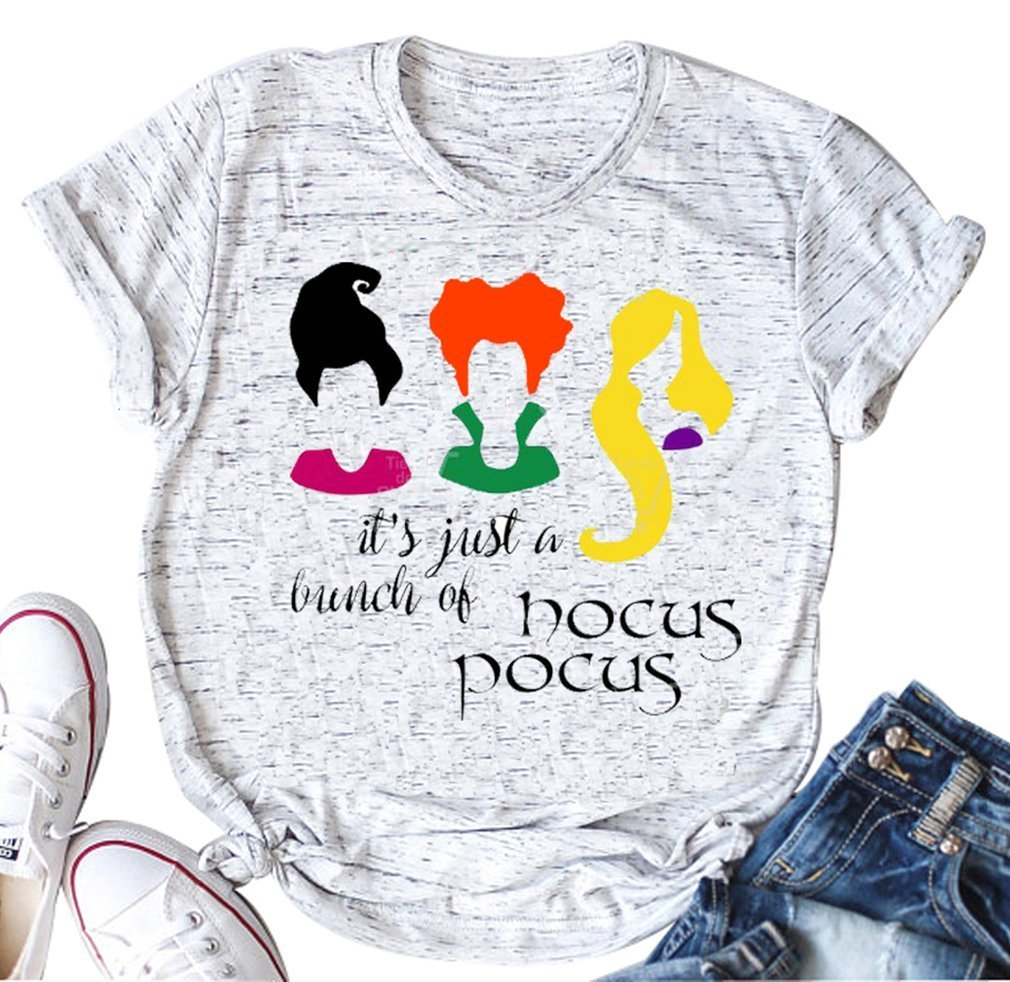 It's Just A Bunch of Hocus Pocus T Shirt for Funny Letter Print Short Sleeve Tee (Small, White)