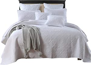 Brandream White Vintage Bedding Sets Medallion Embroidery Comforter Set Luxury Oversized Coverlet Set Queen Size