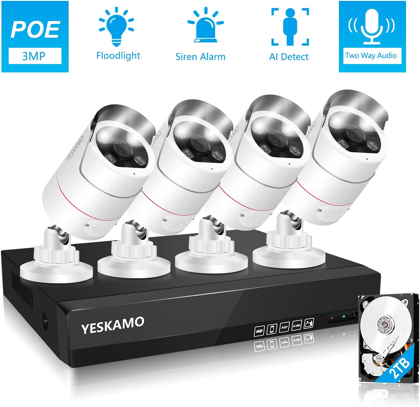 YESKAMO PoE Outdoor Home Security Camera System [Floodlight & 2 Way Audio] 5K 8ch NVR 4pcs 3MP Spotlight IP Cameras with 2TB Hard Drive, Color Night Vision,Siren Alarm,AI Human Detection