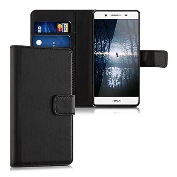 kwmobile Funda para Huawei GR3 / P8 Lite Smart - Carcasa de [Cuero sintético] - Case con Tapa y [Tarjetero] en [Negro]