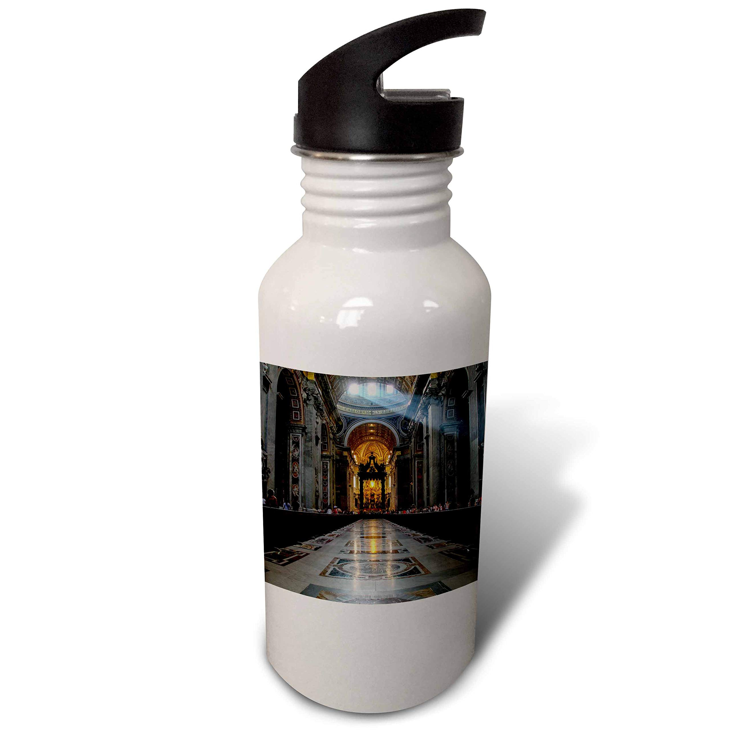 3dRose Elysium Photography - Architecture - St. Peters Basilica interior, Rome, Italy - Flip Straw 21oz Water Bottle (wb_289615_2)