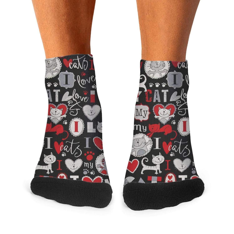 Floowyerion Mens i love my cat paw Novelty Sports Socks Crazy Funny Crew Tube Socks