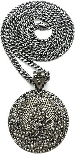 BLINGFACTORY Iced Silver PT Euphanasia Bling Pendant /& 11mm 20 Cuban Chain Hip Hop Necklace