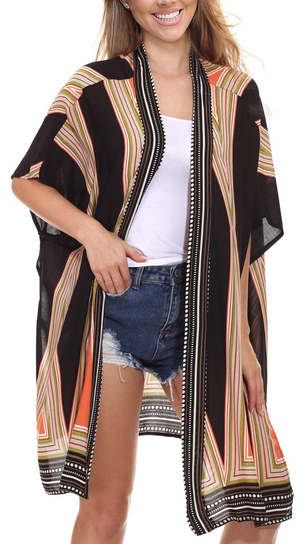 Womens Summer Vintage Floral Kimono Loose Beach Cover up Swimwear (Orange,M)