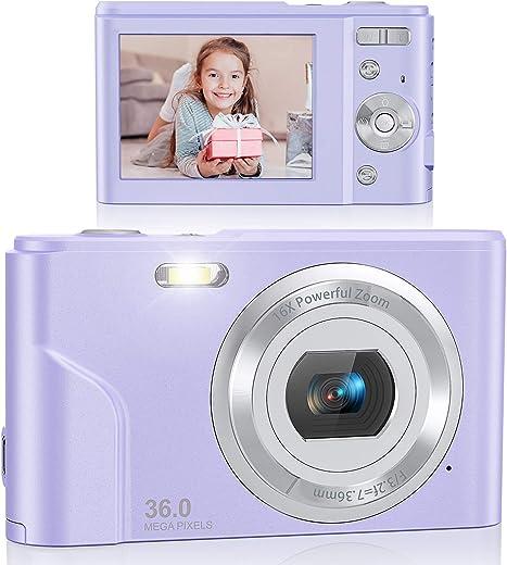 Digital Camera, Lecran FHD 1080P 36.0 Mega Pixels Vlogging Camera with 16X Digital Zoom, LCD Screen, Compact Portable Mini Cameras for Students, Teens, Kids (Purple)