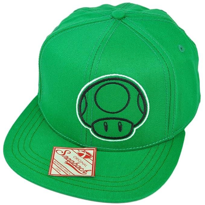 2167ee7b3fd Super Mario 1 Up Mushroom Snapback Green Flat Bill Video Game Hat Cap  Nintendo  Amazon.ca  Clothing   Accessories