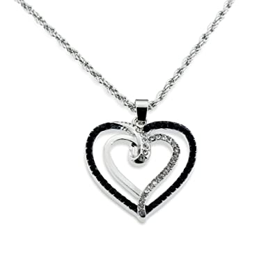 Gift For Her Jewelry   Silver Crystal And Black Double Open Heart Pendant  Necklace For Valentineu0027s