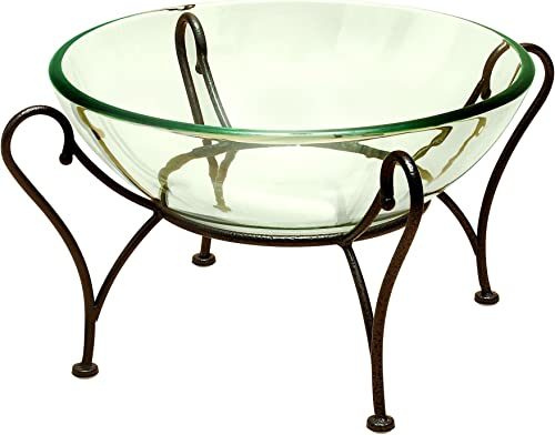Deco 79 Glass Bowl Metal Stand, 20 by 9-Inch, Brown