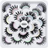 DYSILK 10 Pairs 6D Mink False Eyelashes Faux Mixed Long Wispy Natural Eyelashes Fluffy Thick Eyelashes Handmade Reusable…
