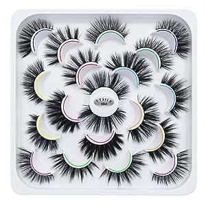 DYSILK 10 Pairs 5D Faux Mink False Eyelashes 10 Styles Mixed Long Soft Fake Eyelashes Fluffy Wispy Natural Eyelashes Handmade Reusable Eyelashes Makeup Thick Dramatic Look Lashes