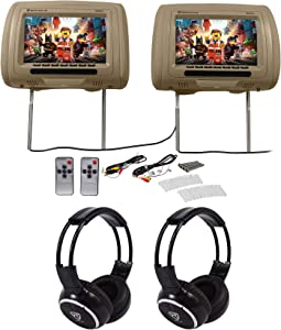"Pair Rockville RHP91-BG v2 9"" Beige Car Headrest Monitors w/Speakers+Headphones"