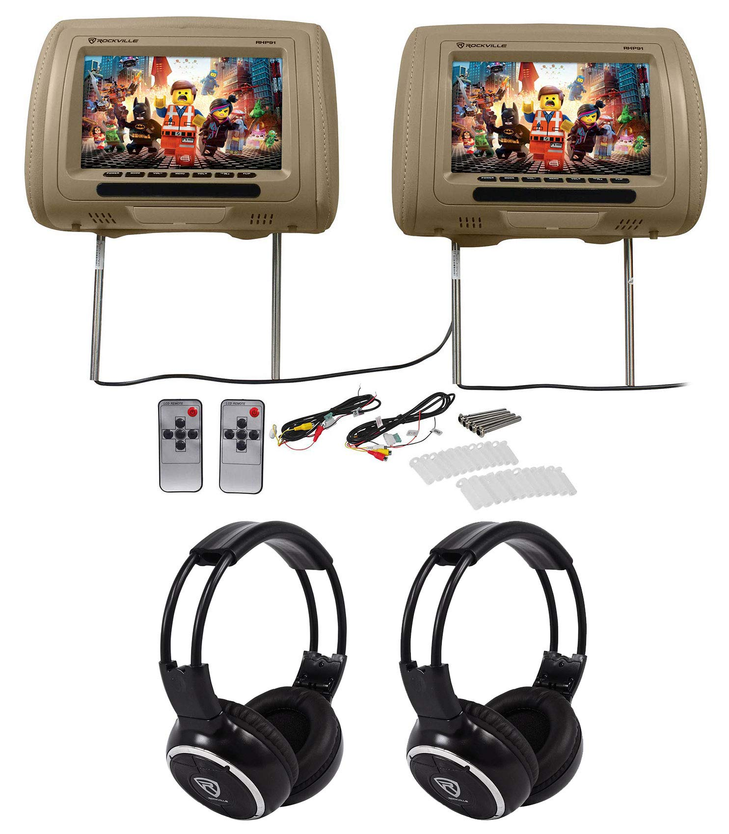 Pair Rockville RHP91-BG v2 9 Beige Car Headrest Monitors w/ Speakers+Headphones by Rockville