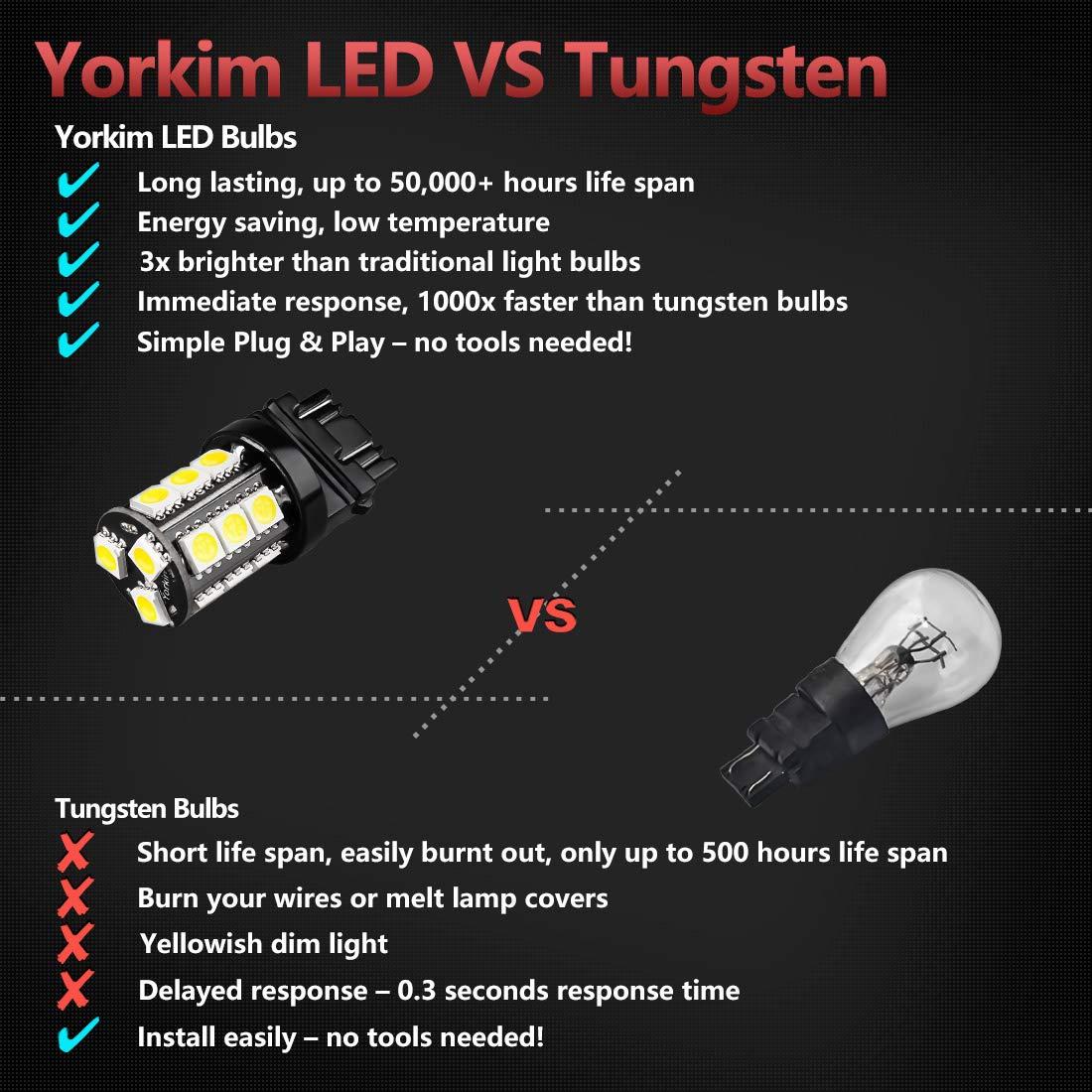 Yorkim Super Bright 3157 Led Light Bulbs White Pack Of In Car Lights Delay 10 Brake Backup Reverse 3156 Tail
