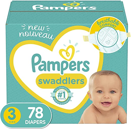 Diapers Size 3, 78 Count - Pampers Swaddlers Disposable Baby Diapers, Super...