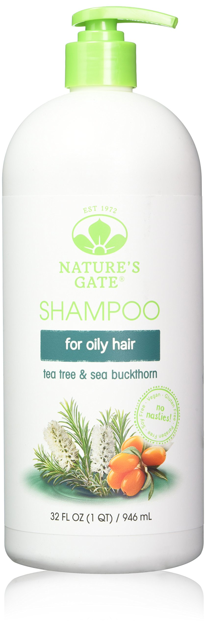 Nature's Gate Natural Tea Tree and Sea Buckthorn Daily Shampoo with Jojoba Oil for Scalp, 32 Ounce