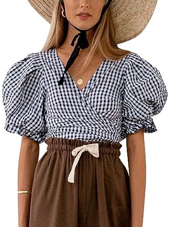 da5464cffa Simplee Women's Tops Wrap V Neck Half Puff Sleeve Casual Crop Tops Summer Blouse  Shirts Black