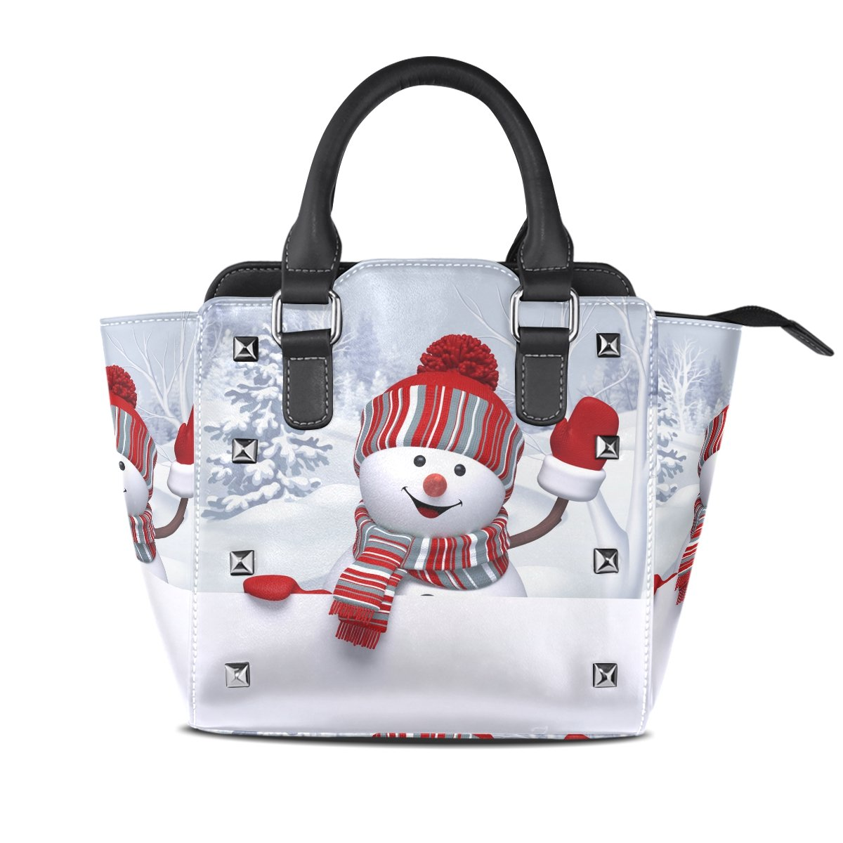 ALAZA Christmas Xmas Snowman Travel Hobo Tote Bag Top-Handle Handbags