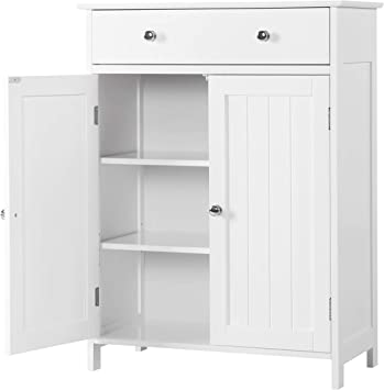 Amazon Com Yaheetech Free Standing Bathroom Cabinet Storage Cabinet With 1 Drawer 2 Doors Adjustable Shelf 23 6in L X 11 8in W X 31 5in H Furniture Decor