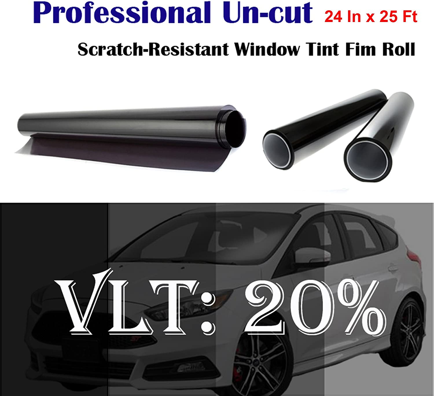 "Mkbrother Uncut Roll Window Tint Film 20% VLT 24"" in x 25' Ft Feet Car Home Office Glasss"