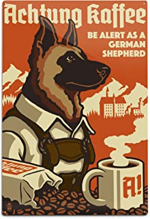 product image for Lantern Press German Shepherd - Retro Coffee Ad 54875 (6x9 Aluminum Wall Sign, Wall Decor Ready to Hang)