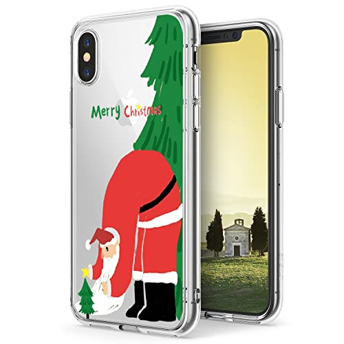 Funda iPhone X, Vanki® Navidad Serie Diseño Suave Soft Transparente TPU Funda Adorable Parachoques F...