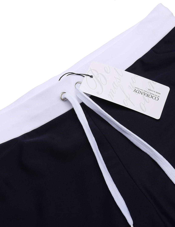 COOFANDY Mens Swim Trunks Quick Dry Beach Boxer Briefs Swimwear Board Shorts with Zipper Pocket 01-Navy Blue, Medium