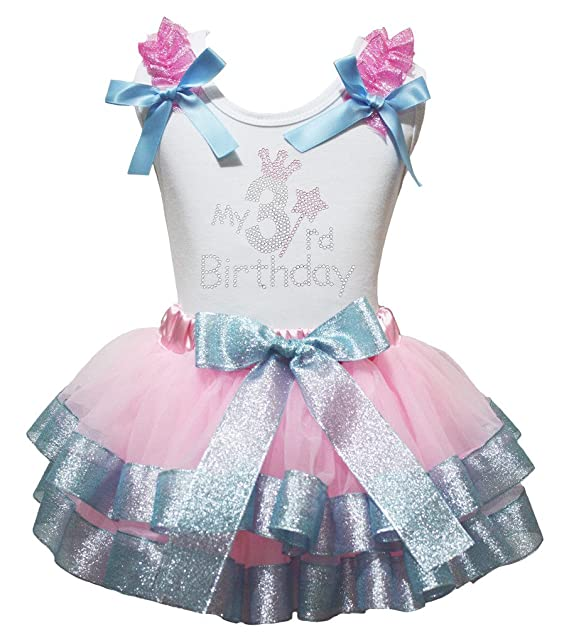 Petitebella My 3rd Birthday White Shirt Blue Pink Petal Skirt Set Nb-8y