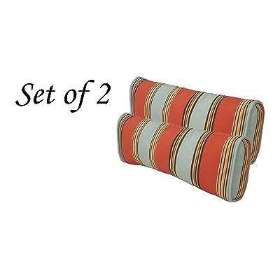 Comfort Classics Inc. Outdoor Multi Color Stripe Pillow (Set of 2) 19x10x 4 : Garden & Outdoor