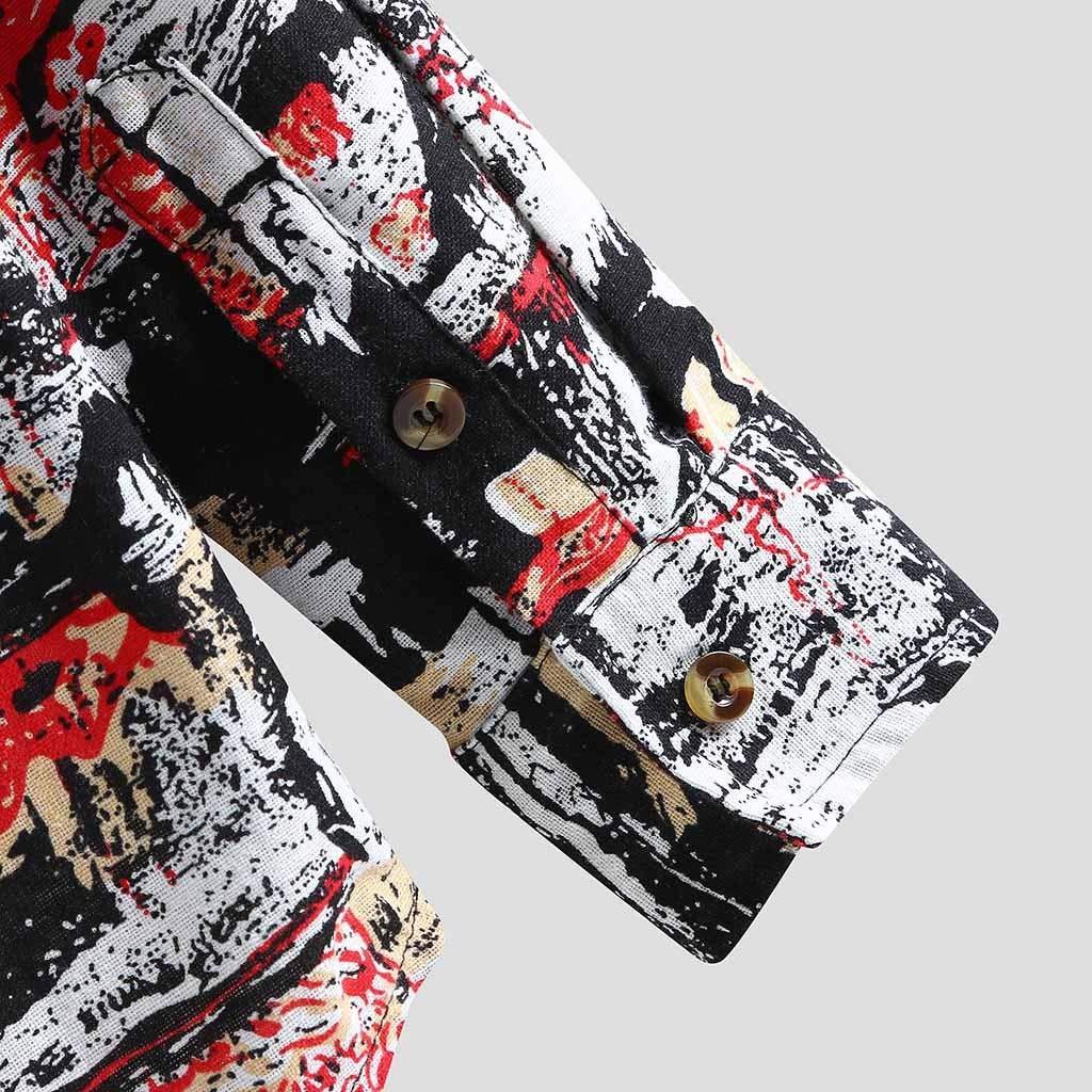 Gergeos Mens Button Down Shirts Vintage Print Casual Shirt Long Sleeve Fashion T-Shirts Loose Retro Dress Shirts