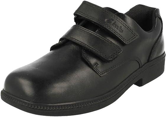 Boys Clarks Hook /& Loop Leather//Textile Smart School Shoes Deaton Gate